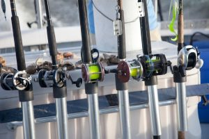 Row Of Fishing Poles On Boat